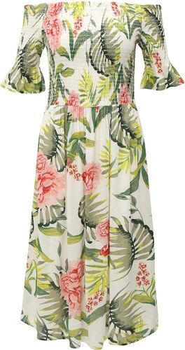 34c395d3869c Zeleno-biele šaty s odhalenými ramenami Dorothy Perkins - Glami.sk