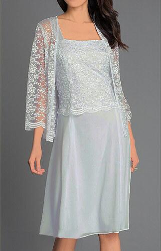 Glamor Krátke sivé spoločenské šaty s čipkovaným kabátikom - Glami.sk 0ba447cb422