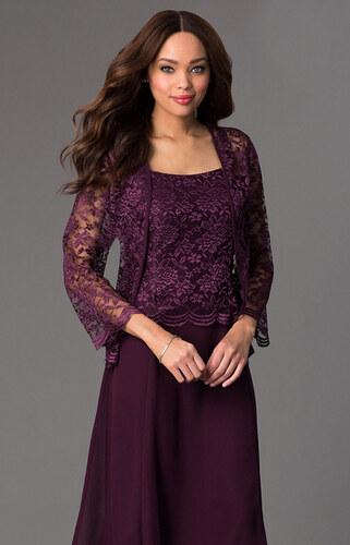 913e1618695f Glamor Krátke fialové spoločenské šaty s čipkovaným kabátikom - Glami.sk