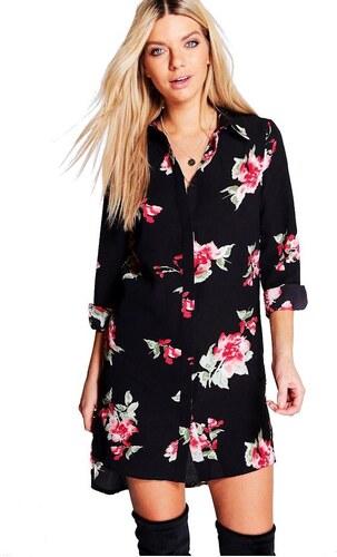 BOOHOO Černé košilové mini šaty Aldabella s květinovým vzorem - Glami.cz 90bb64d55d6