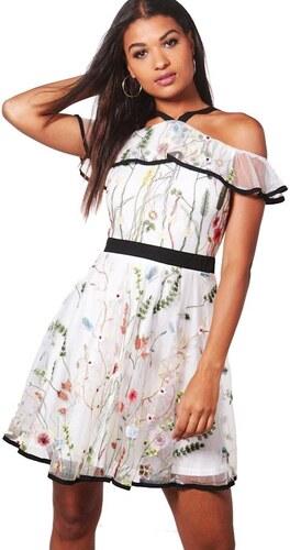 107366eb6dcb BOOHOO Biele organza šaty Ria s kvetinovým vzorom a kontrasty - Glami.sk