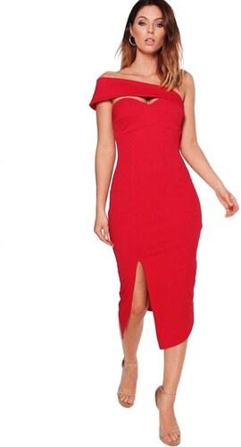 c2c7f9df4413 BOOHOO Červené bodycon midi šaty Kaylee s asymetrickým detailem v dekoltu