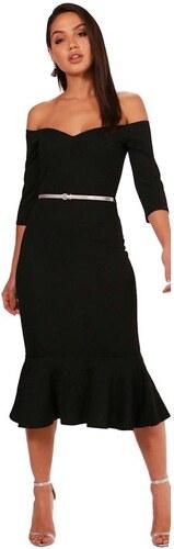 28eeabbd84 BOOHOO Čierne puzdrové bardot midi šaty Melissa s opaskom - Glami.sk