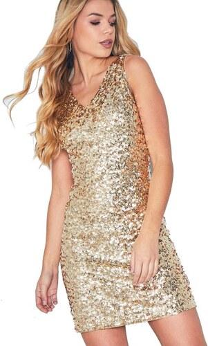 d85c0835c8cc MISSY EMPIRE Zlaté flitrové mini šaty Charlotte - Glami.sk
