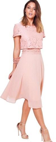 BOOHOO Blush koktejlové šaty Annie s krajkovým topem - Glami.cz 1cef5e019f0