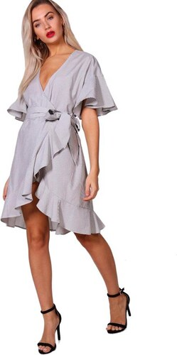 BOOHOO Volánkové zavinovací šaty Olivia - Glami.cz 1ebc731a75