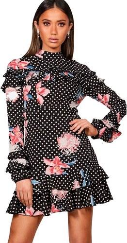 BOOHOO Boutique DI Černé šaty s puntíky a květinami - Glami.cz 2616b84433