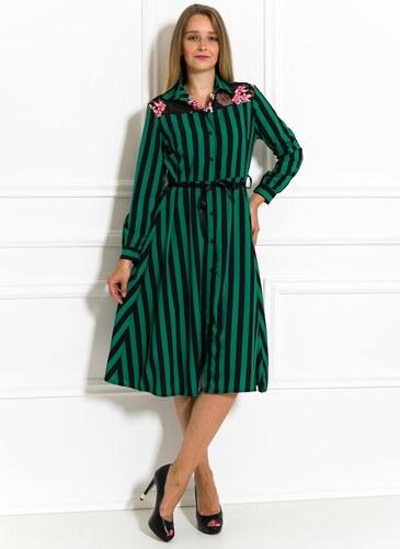 219cec6bc151 Glamorous by Glam Saténové košilové šaty černo-zelené - Glami.cz