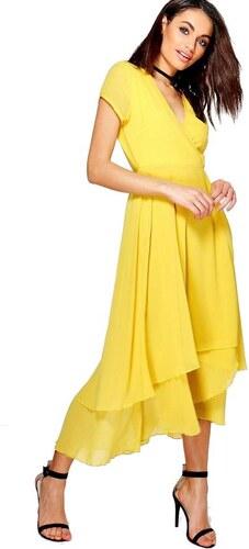 BOOHOO Gracie Žlté šifónové šaty - Glami.sk 59cf0045fc7