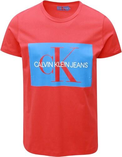 eabf7c8cfced Červené pánske tričko s potlačou Calvin Klein Jeans - Glami.sk