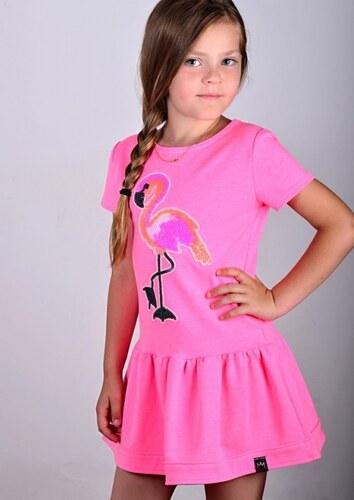 deb7bb37d5c7 All for kids Dievčenské bavlnené šaty-tunika MIMI s plameniakom ...