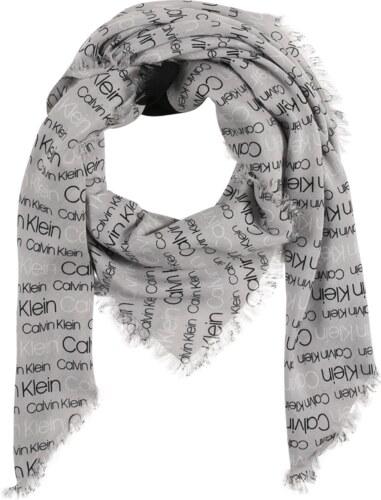Calvin Klein Šátek  Logo  šedá   černá - Glami.cz bbdca29adf