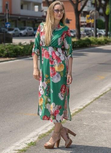 4219bf7e367b Glamorous by Glam Letné šaty košeľové s kvetmi zelené - Glami.sk