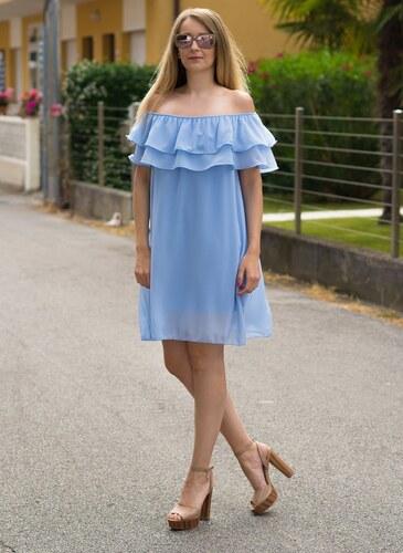 b8bb57046c53 Glamorous by Glam Dámske letné šaty s volánom svetlo modré - Glami.sk