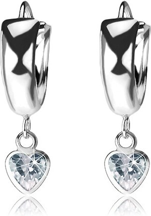 7991ca55e Šperky eshop - Kĺbové náušnice zo striebra 925, lesklé vypuklé kruhy,  visiace zirkónové srdce I32.26