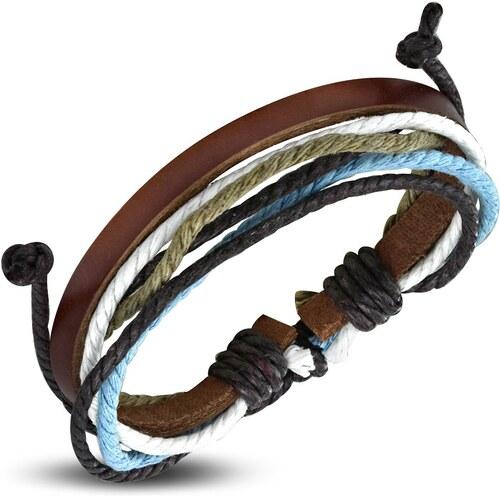 fe5d4fcb8 Šperky eshop - Šnúrkovo-koženkový náramok, úzky hnedý pás umelej kože,  farebné šnúrky