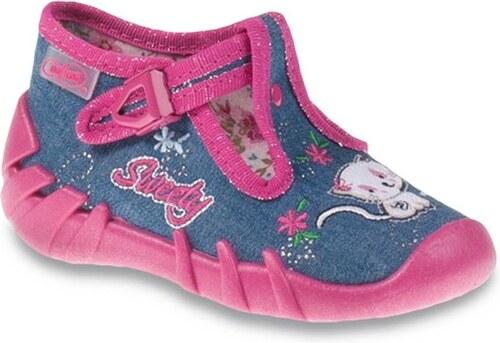 Befado Dievčenské papučky s mačičkou Speedy - modré - Glami.sk 9ddb5730462