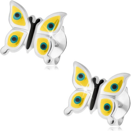 ea33ff7f6 Šperky eshop - Náušnice, striebro 925, žltý motýlik, čierno-modré bodky,  puzetové zapínanie I36.07