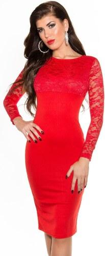 a138a1c8ee95 Strikingstyle Púzdrové šaty s čipkou   červené - Glami.sk