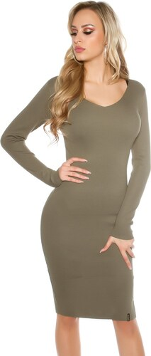 Strikingstyle Jednoduché úpletové šaty   khaki - Glami.sk 91542e5c278