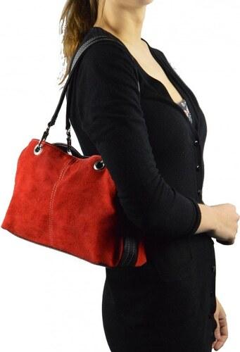 -15% -22% Kožená menší červená bordó taška na rameno lil two VERA PELLE  21973 fab036572ac