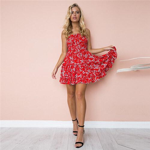 6685c0cb2f93 LM moda A Letní šaty k moři červené s květy 8690-4 - Glami.cz