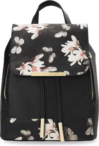 -9% World-Style.cz Stylový dámský batoh s klopou zpevněné dno eko kůže s  květovým 7fba8202c3