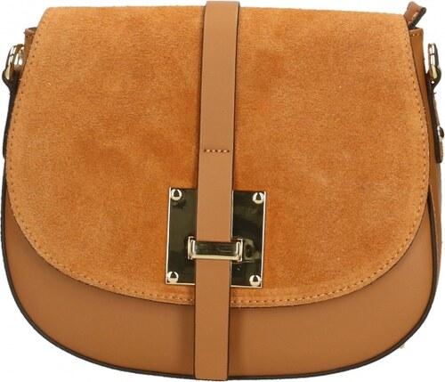 -12% Kožená větší koňakovo hnedá crossbody kabelka cez rameno bella VERA  PELLE 099cf95b755