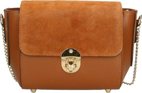 -15% Kožená větší camel hnedá crossbody kabelka cez rameno leone VERA PELLE 669dcf43853