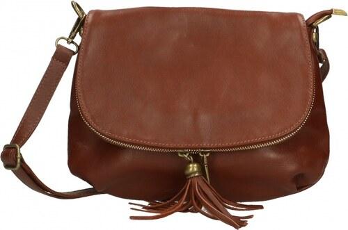 -17% Kožená větší hnedá brown crossbody kabelka cez rameno tori VERA PELLE 0cc4e628fa0