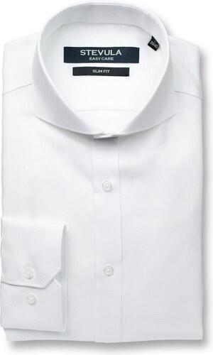 3309d915055e STEVULA Biela štruktúrovaná slim fit košeľa s golierom Cutaway ...