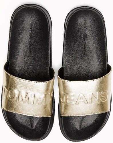 Tommy Hilfiger černo-zlaté pantofle TJ Metallic Pool Slide Light Gold bc6deb3b24
