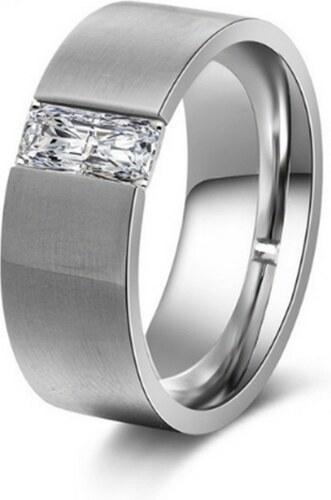 48288c73a Ziskoun Dámský prsten z chirurgické oceli stříbrný s velkým zirkonem  SR000027