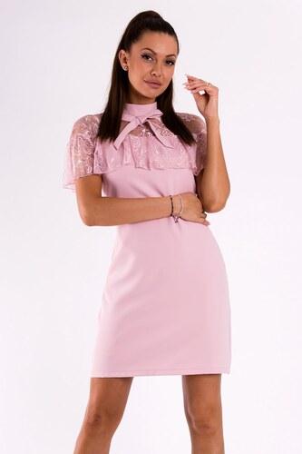 f41f83f95c2d SOKY SOKA Dámské společenské šaty SOKY SOKA Bow světle růžové - růžová