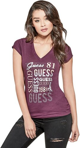 GUESS tričko Brit Logo Tee potent purple b7670550129