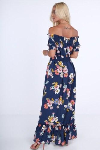 1241a302362d Fasardi Tmavomodré dámske kvetinové šaty s odhalenými ramenami ...