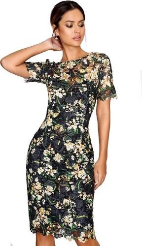 LITTLE MISTRESS Černé krajkové květinové bodycon midi šaty - Glami.cz 328851648a7