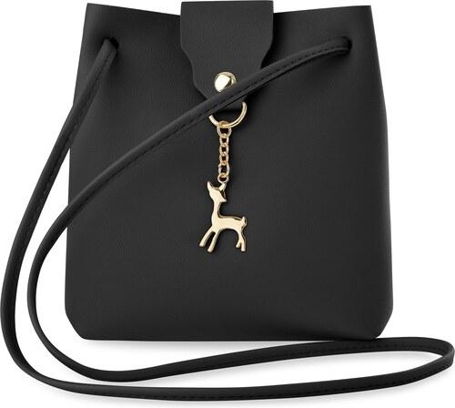 f16e193035 World-Style.cz Malá dámská kabelka vak taška s přívěskem - černá ...