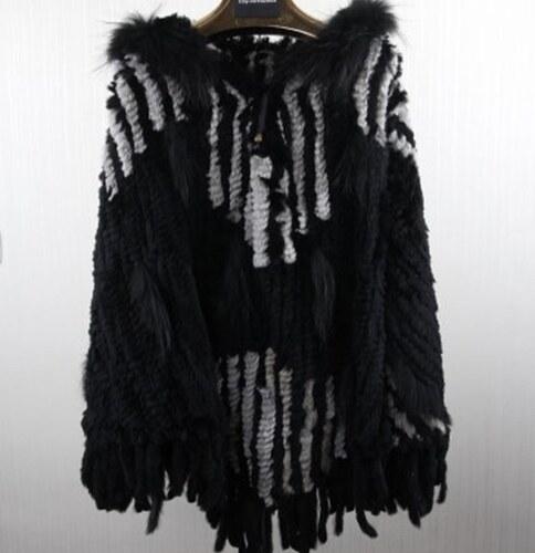 76cfc0bf71b Kožešinové pončo pletené z králíka a mývala s kapucí - 3 barevné designy
