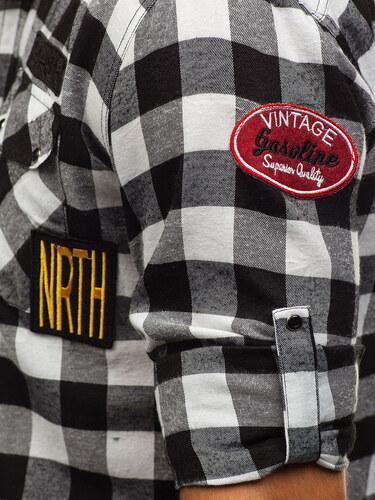 08f1f3436a2a Čierna pánska flanelová košeľa s dlhými rukávmi BOLF 2503 - Glami.sk