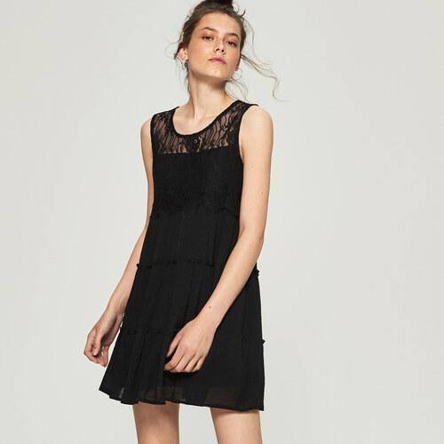 Sinsay - Šaty s čipkovanou vložkou - Čierna - Glami.sk 86ae201dec3