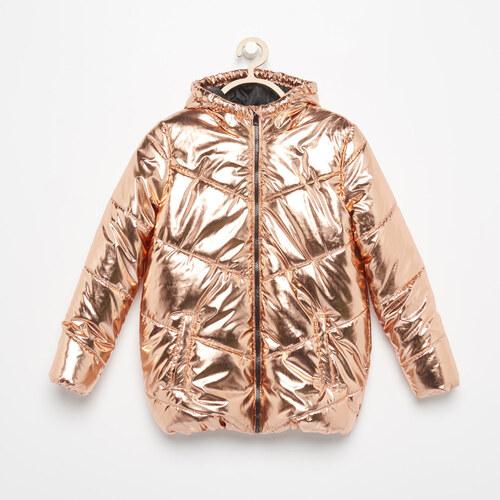 Reserved - Metalická zateplená bunda - Oranžová - Glami.sk 9f0eedb89df