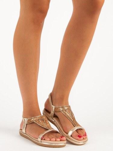 64e9494f8d90 Marquiz Zlaté ploché sandále s gumičkou M-8812GO - Glami.sk