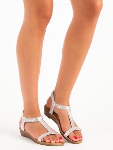 5f3bc3f230 Strieborné sandále s gumičkou 35-130S - Glami.sk