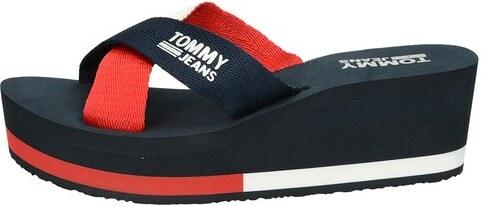 d5b2029114 Tommy Hilfiger dámske štýlové šľapky na klinovej podrážke - modré ...