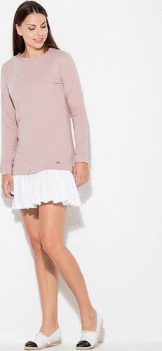 cfdaeda8097a KATRUS Dámske šaty s bavlneným topom K451 Pink - Glami.sk
