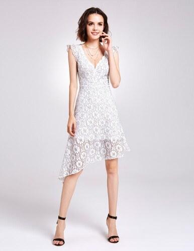 Ever-Pretty Bílé krajkové šaty s asymetrickou sukní - Glami.cz 2b5c1a4678