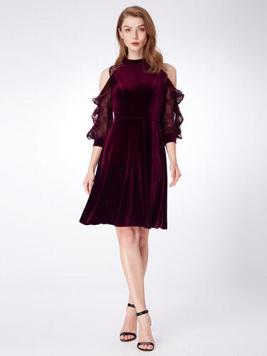 Alisa Pan Vínové sametové šaty s krajkovými rukávy a odhalenými rameny db06131941