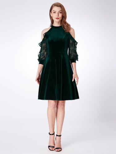 Alisa Pan Tmavě zelené sametové šaty s krajkovými rukávy a odhalenými rameny 5fab46643b