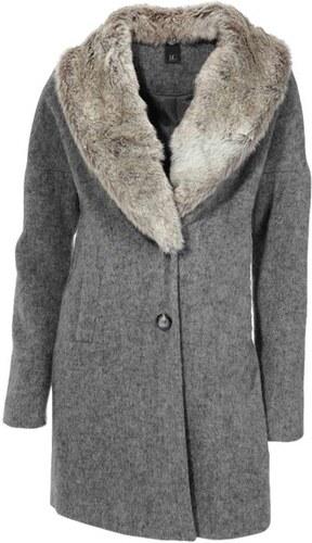 6be410d3cfbc Sivý vlnený kabát s kožušinou HEINE - B.C. - Glami.sk
